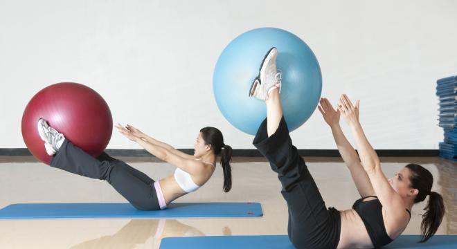 Two Women at Ball Workout