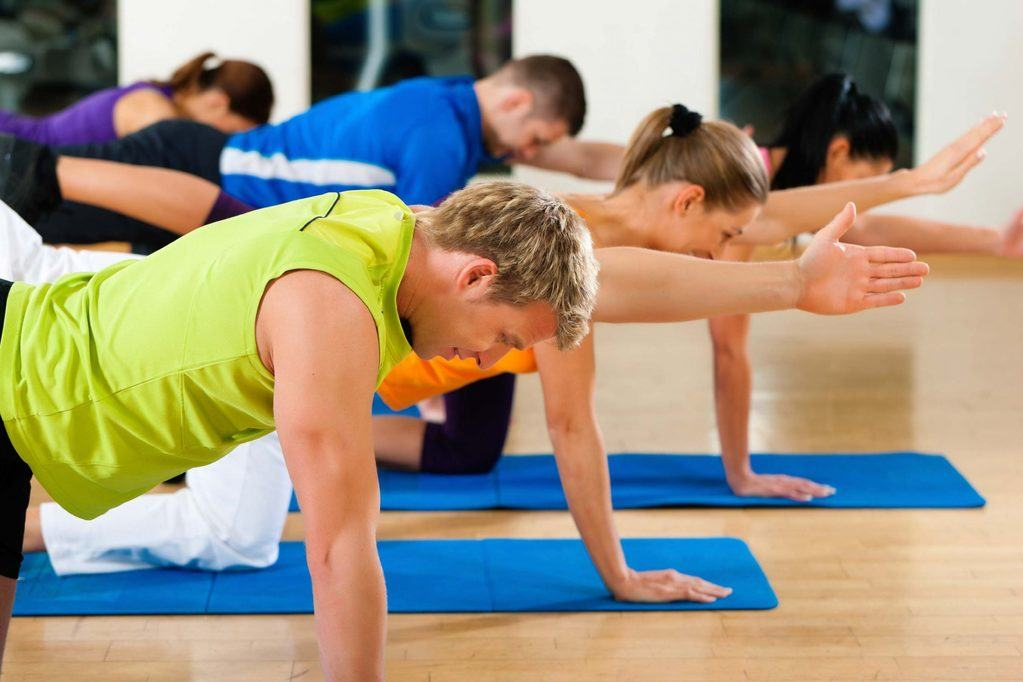 Stretching and gymnastics in fitness club